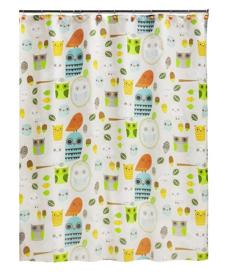 """Give A Hoot"" shower curtain by Creative Bath, $29.99 at Utilities, 393 Commercial Street, Provincetown, 508-487-6800, utilitieshome.com"