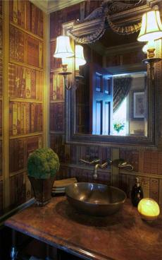 Library style bathroom in Pride's Crossing by Sally Wilson