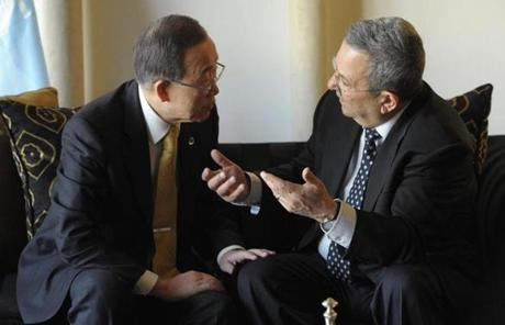 Secretary-General Ban Ki-moon met with Israeli Defense Minister Ehud Barak in Jerusalem