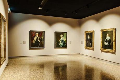 Gallery installation for the exhibition Raphael to Picasso at Basilica Palladiana in Vicenza, Italy. Paintings (left to right): James Warren (1761-63) and Mrs. James Warren (Mercy Otis) (about 1763) by John Singleton Copley from the Museum of Fine Arts, Boston; A Dutch Gentleman (1643-45) and A Dutch Lady (1643-45) by Frans Hals from the Scottish National Gallery. Please credit: Linea dÕOmbra 22missing