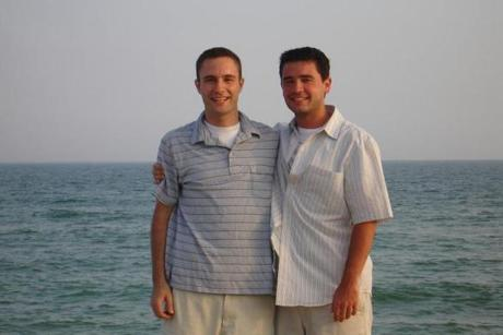 Tim Morelli (left) with his friend Nick Roselli.