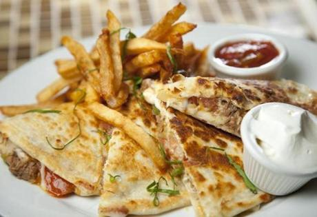 Churrasco (a shredded beef mixture) quesadilla.