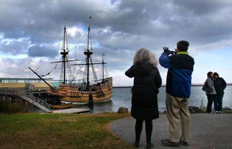 The Mayflower II was the center of attention in Plymouth harbor the day before Thanksgiving.