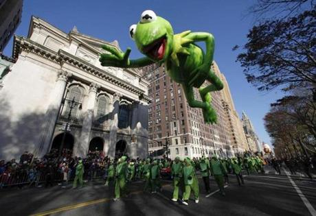The Kermit the Frog balloon made its way down Central Park West.