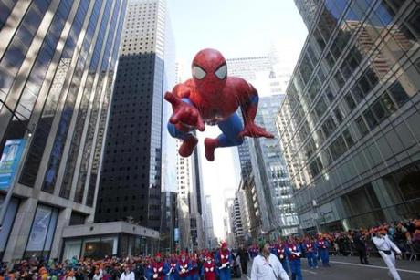 Spiderman made his way through the parade route.