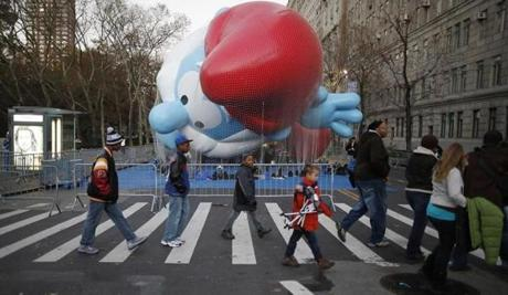 The Papa Smurf balloon was prepared for liftoff prior to the parade.