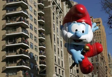 Papa Smurf floated above the New York streets at the Macy's Thanksgiving Day Parade in New York.