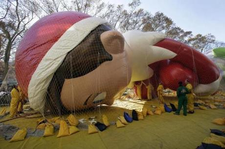 The new Elf on the Shelf balloon was inflated prior to the parade.