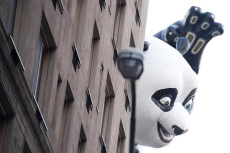 The Kung Fu Panda balloon appeared from around the corner of a building in New York.
