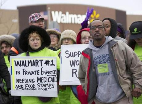 Protesters demonstrated outside a Walmart store in Chicago.