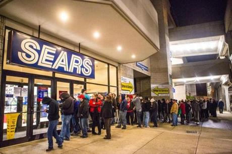 A line formed outside Sears at 12:00 a.m. at South Shore Plaza.