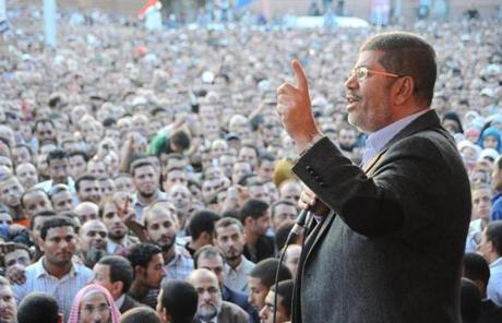 Morsi spoke to supporters outside the presidential palace in Cairo.