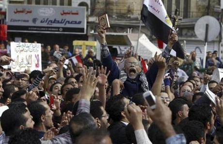 Protesters chanted slogans against Egyptian President Mohammad Morsi.