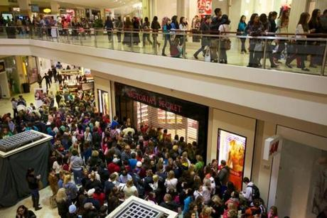 Shoppers waited for the midnight opening of many stores at the Clackamas Town Center in Portland, Oregon for Black Friday sales.