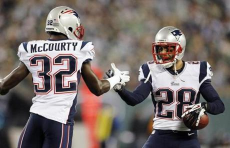 Gregory (right) celebrated with safety Devin McCourty after intercepting a pass from Sanchez in the second quarter.