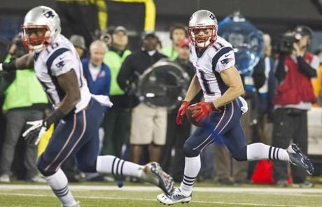 Julian Edelman returned a fumbled kick off for a touchdown.