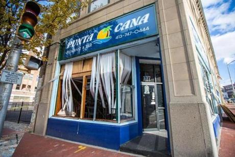 The windows were blown out of Punta Cana Restaurant and Bar on Chestnut Street.