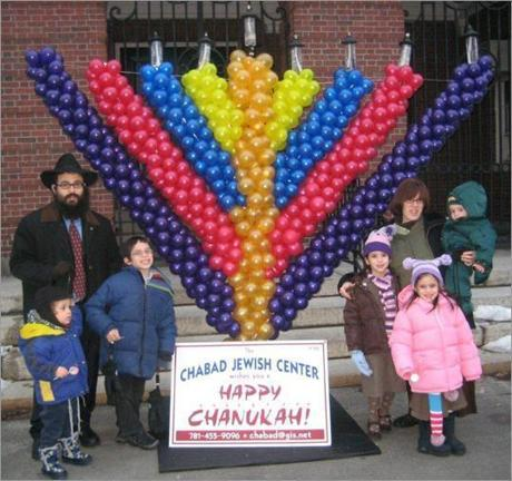 The 2007 menorah was made out of balloons.