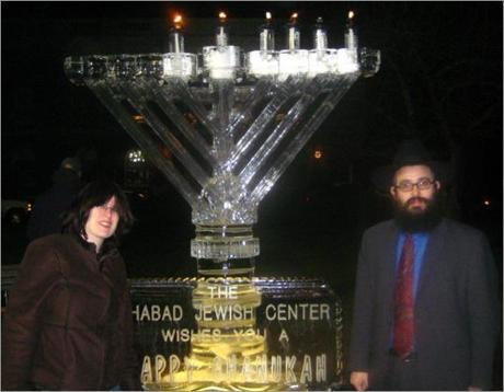 2009's menorah was made of ice.