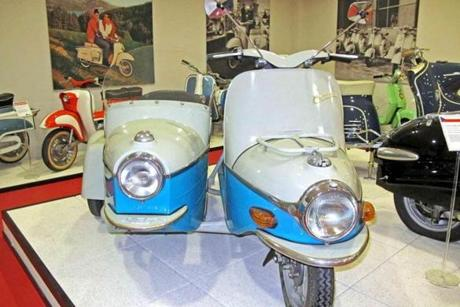 The 1962 Czechoslovakian Cezeta 175CC with sidecar was one of the few Eastern bloc scooters to be exported.