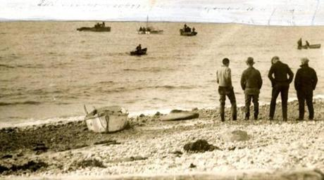 December 24. 1932:  Fishermen on Cape Cod were dragging for cases of liquor dumped overboard off the Cape by a rum-runner who was believed to have a struck a rock and jettisoned the load to save his boat, hoping to get it another night. Most of the cargoes were marked, such as the stringing of many cases to a rope, which, if picked up, lead to the main part of the cache. News traveled fast if a fisherman ran across the cache and marine traffic increased as others try to find the haul.