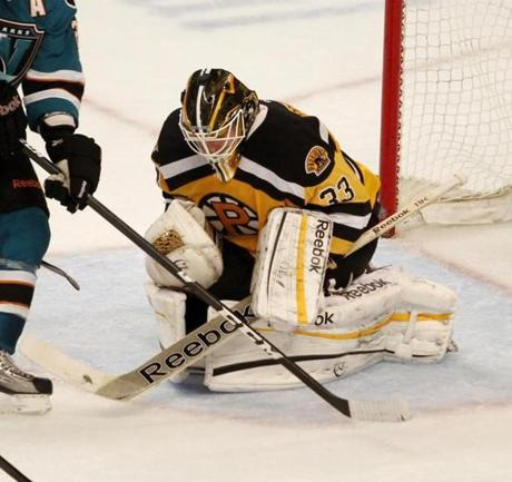 Providence Bruins goalie Mike Hutchinson makes a save during recent game.