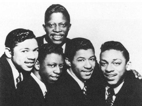 "Earl ""Speedo"" Carroll, top, with the Cadillacs in 1954."