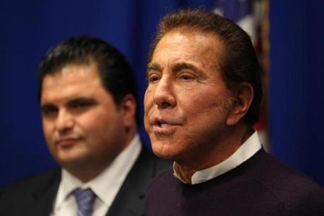 Developer Steve Wynn appeared with Mayor Carlo DeMaria Jr. in Everett on Wednesday and toured the 37-acre parcel once occupied by Monsanto Chemical Co. that Wynn is considering as a site for a casino.