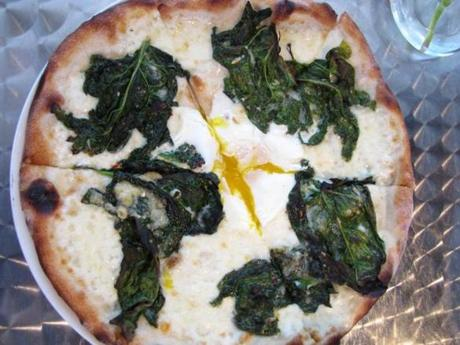 Spicy spinach and egg pizza at Dinette in East Liberty.
