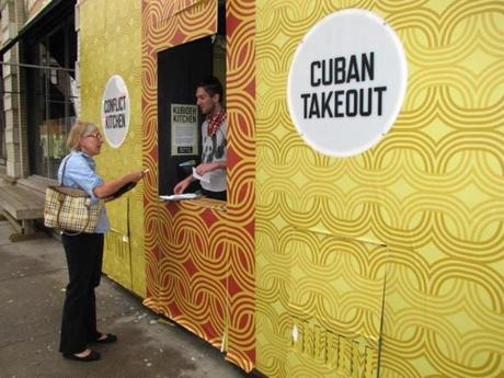 Conflict Kitchen was a take-out style storefront serving food from countries with which the US is in conflict. It recently closed at this location and has been functioning as a Cuban paladar (home-based restaurant) until it secures a new space downtown.