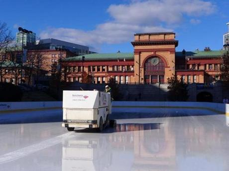 A Zamboni polished the ice at the Bank of America City Center skating rink in Providence.