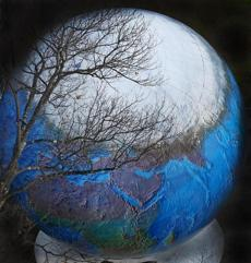 The bare branches of a tree were silhouetted against the Arctic region on a 28-foot outdoor globe of the earth on the grounds of Babson College in Wellesley.