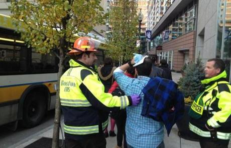 A Green Line trolley bumped into another trolley Thursday at the Boylston Street MBTA station, resulting in several injuries.