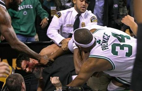 Rajon Rondo was at the center of a scrum during the Nets-Celtics game that left three players ejected in Boston's 95-83 loss.