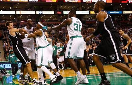Several other players jumped into the fight after Rondo took the swing at Humphries.