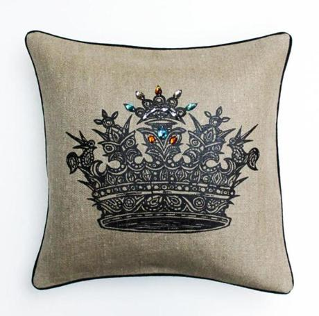 Jeweled Crown Pillow, by PATCH NYC, $148 PATCH NYC 46 Waltham Street, Boston 617-426-0592, www.patchnyc.com