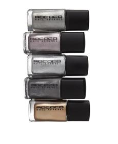 "Rococo ""Modern Metallica"" nail lacquers, $16.50 per bottle at Space NK at Bloomigdale's, 225 Boylston St., Newton, 617-630-6000, www.blooming dales.com."
