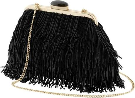 Anna Karenina Collection black fringe clutch by Banana Republic, $198 at Banana Republic 28 Newbury St., 617-267-3933, and other Boston-area locations, www.bananarepublic .com.