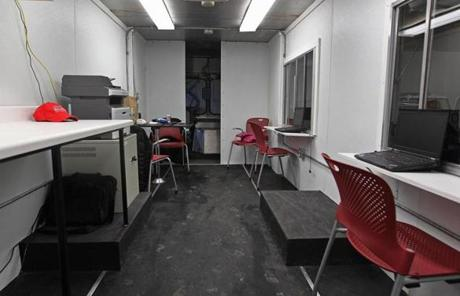 The interior of the City Hall To Go truck has laptop computers and wireless Internet access.