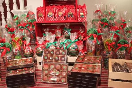 A display of Christmas items.