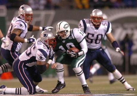 McGinest sacked Chad Pennington during the first quarter.