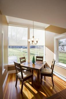 The breakfast nook overlooks the backyard.
