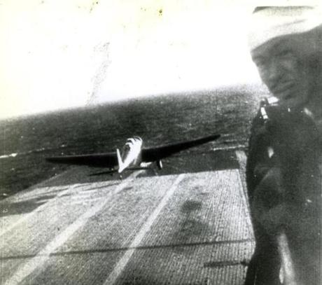 December 7, 1941: A still shot from a Japanese newsreel obtained by the US War Department and released to US newsreels on May 4, 1943 through the Office of War Information. Commentary accompanying the Japanese newsreel picture described it as showing a Japanese plane taking off from a carrier to attack Pearl Harbor on December 7 1941.