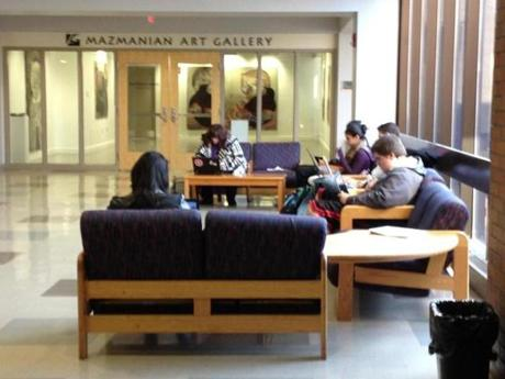Students studying before Thanksgiving break in the McCarthy Student Center.