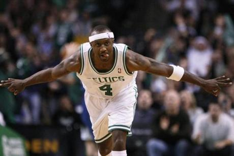 Celtics guard Jason Terry reacts after hitting a 3-pointer in the third quarter against the Minnesota Timberwolves at TD Garden.