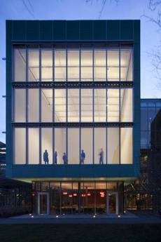 Evening exterior view of the new Special Exhibition Gallery in the new wing of the Isabella Stewart Gardner Museum