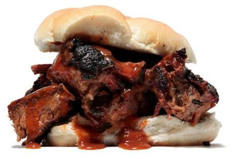 Burnt Ends sandwich at Blue Ribbon Barbecue trailer