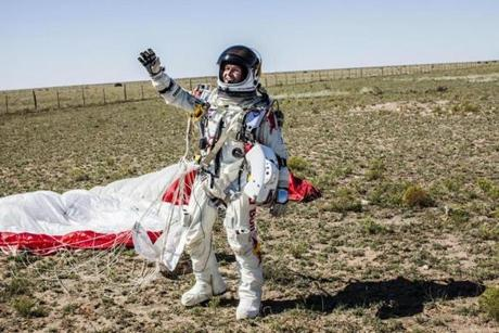 Pilot Felix Baumgartner of Austria celebrates after successfully completing the final manned flight for Red Bull Stratos in Roswell, New Mexico, USA on October 14, 2012. // balazsgardi.com/Red Bull Content Pool // P-20121014-00069 // Usage for editorial use only // Please go to www.redbullcontentpool.com for further information. //