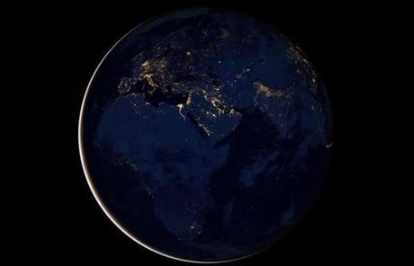 Light from Africa, Europe, and the Middle East can be seen in this composite image.