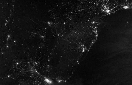 City lights along South America's Atlantic coast were captured in this image from the night of  July 20.
